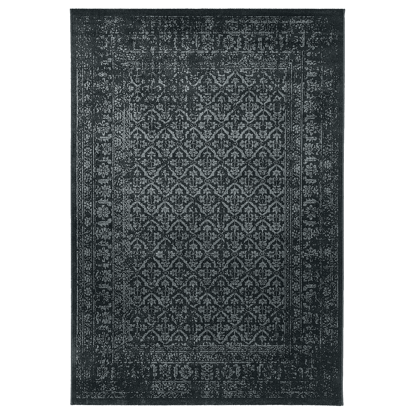 KYNDBY Rug, low pile, gray antique look, floral patterned