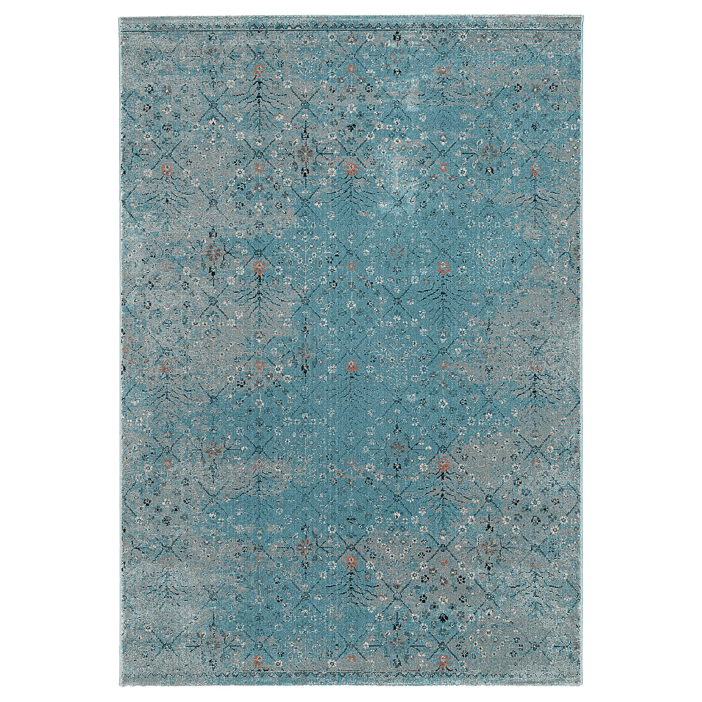 LAKOLK Rug, low pile, blue, antique look