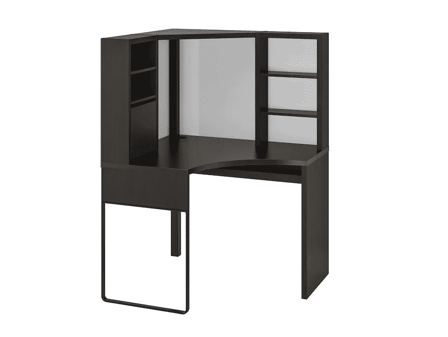 MICKE Corner workstation, black-brown
