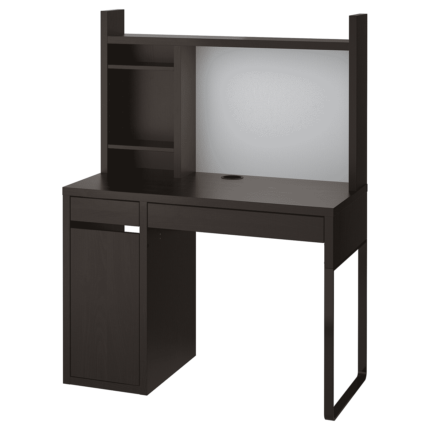 MICKE Desk, black-brown with add on unit
