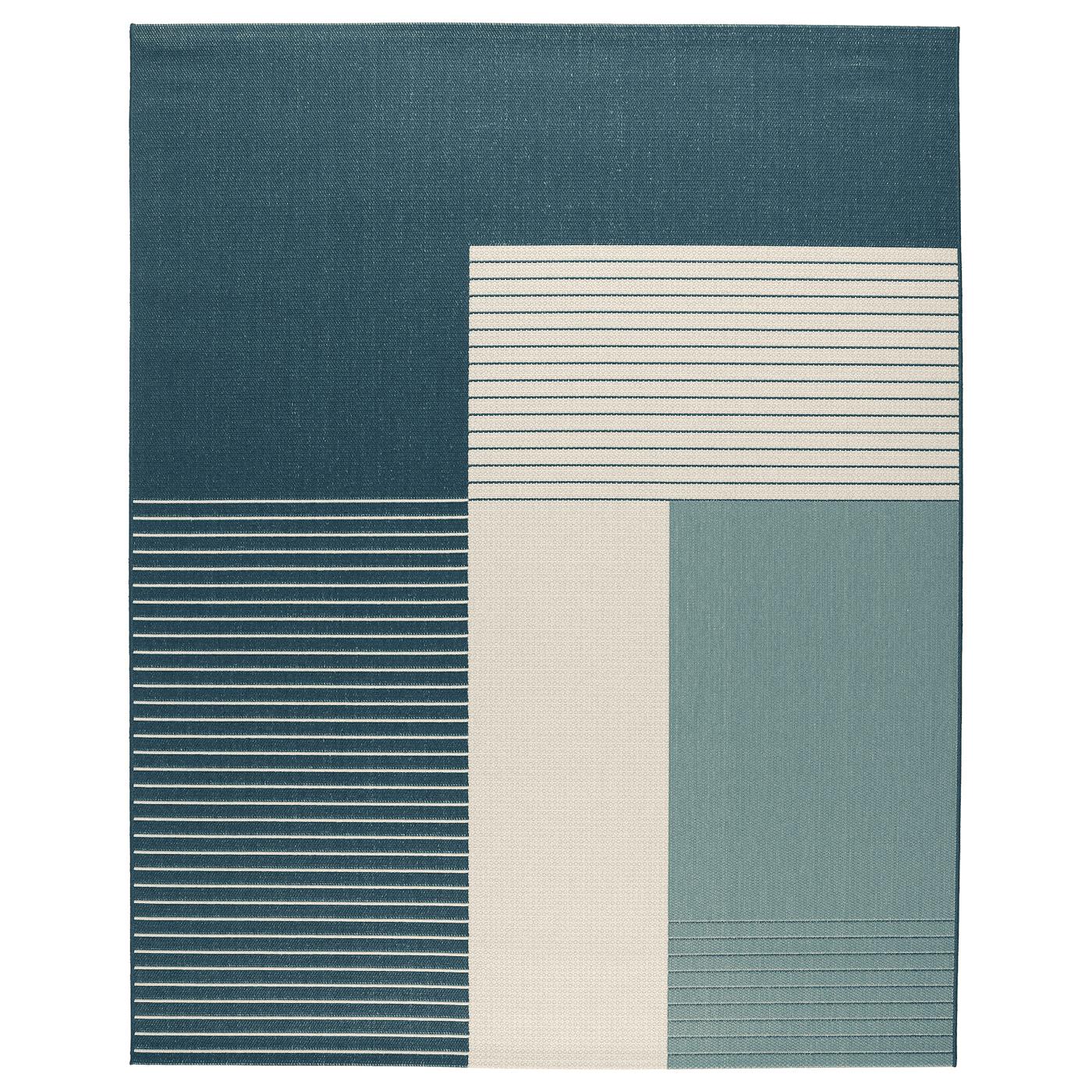 ROSKILDE Rug, flat woven, indoor-outdoor green-blue