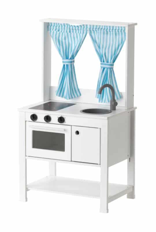 SPISIG Play Kitchen with Curtains