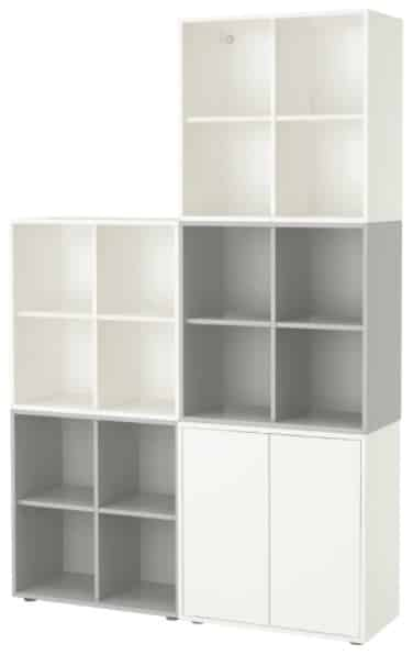 EKET Storage Combination with Feet, Light Gray & White
