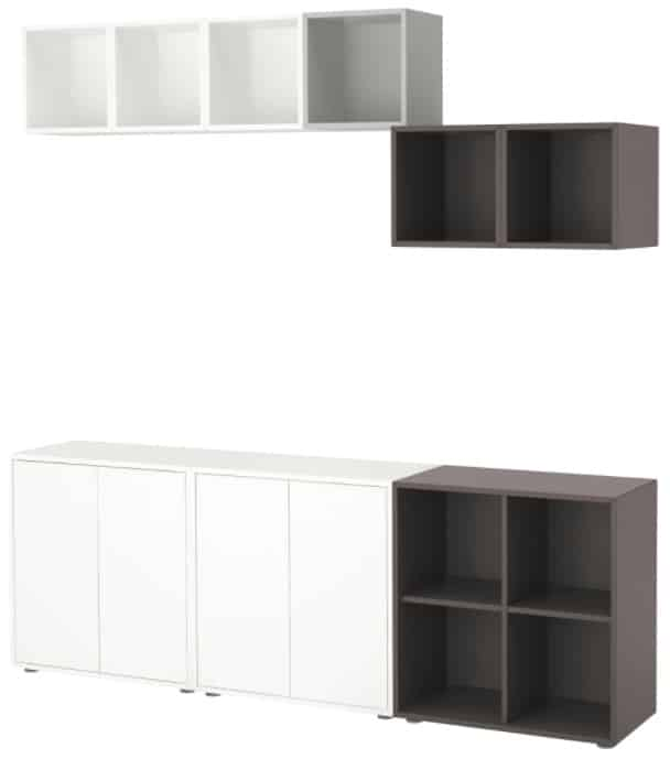 EKET Storage Combination with Feet, White & Dark Gray & Light Gray