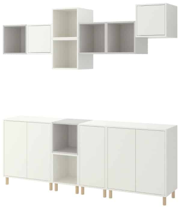 EKET Storage Combination with Legs, Light Gray & White