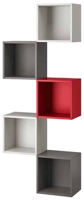EKET Wall-Mounted Storage Combination, Red & Light Gray & Dark Gray