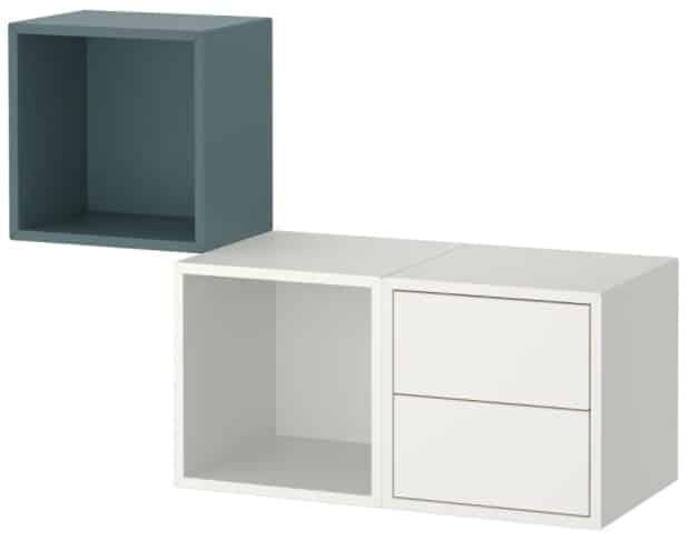 EKET Wall-Mounted Storage Combination, White & Gray-Turquoise