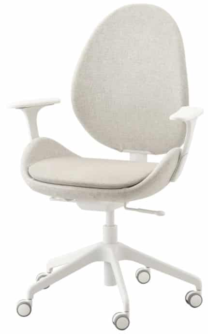 HATTEFJÄLL Office Chair with Armrests, Gunnared Beige & White
