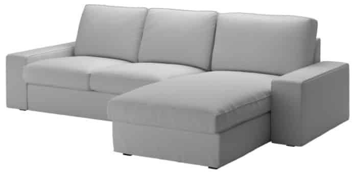 KIVIK Sofa with Chaise, Orrsta Light Gray