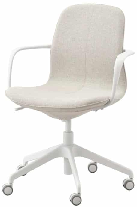 LÅNGFJÄLL Office Chair with Armrests, Gunnared Beige & White