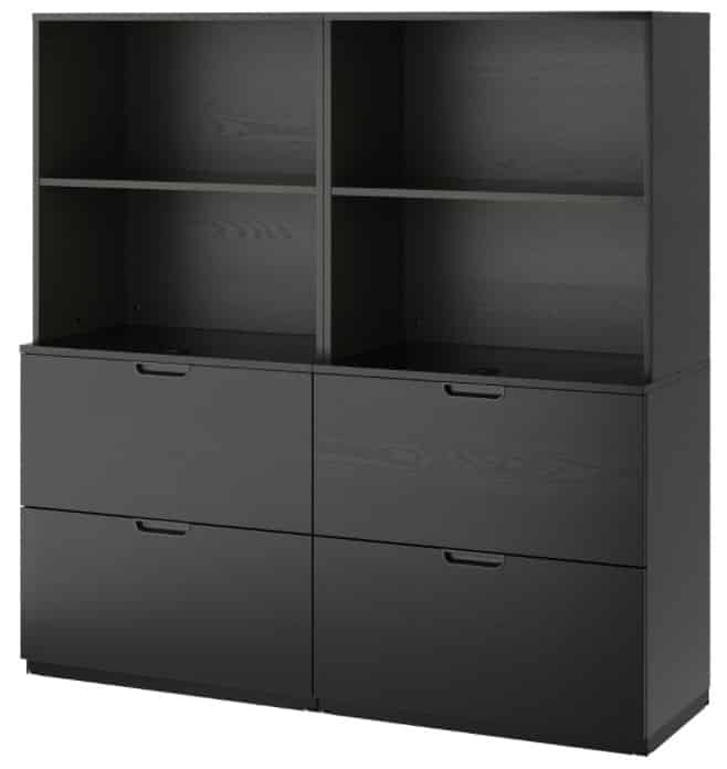 GALANT Storage combination with filing, black stained ash veneer