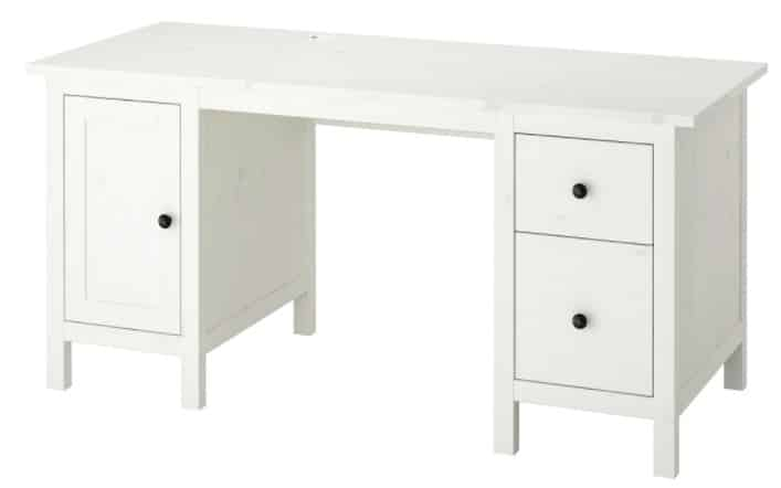 HEMNES Desk, white stain