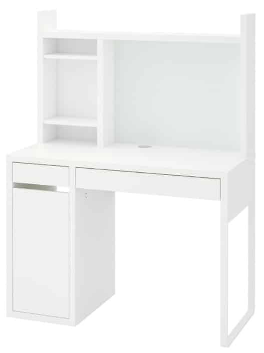 MICKE Desk with top shelf